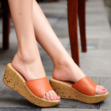 Buy Beach Waterproof Platform Thick Bottomed Sandals Leather Female Sandals Orange Online