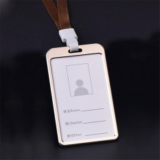 Beautymaker Luxury Aluminum Alloy Business Work Card ID Badge Holder With Lanyard Gold - intl