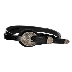 Compare Belts Korean Vintage Leather Micro Belts Ladies Dress Decoration Folk Style Pin Buckle Female Fine Pure Leather Belt Black Intl