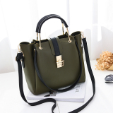 Top 10 Big Bag Female 2017 New Style Simple Wild Handbag Korean Style Large Capacity Women Handbag Fashion Shoulder Messenger Tide Dark Green Color