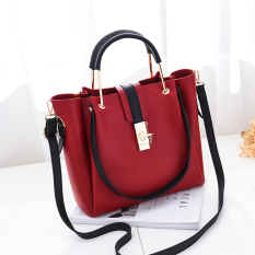 Sale Big Bag Female 2017 New Style Simple Wild Handbag Korean Style Large Capacity Women Handbag Fashion Shoulder Messenger Tide Wine Red Color Oem Original