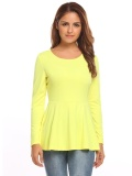 Brand New Big Discount Women Casual O Neck Long Sleeve Solid Ruffle Hem S*xy Blouse T Shirt Tops Light Yellow Intl