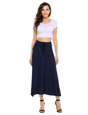 Buy Big Discount Women Stretch Elastic High Waist Pockets Drawstring Solid A Line Maxi Skirt Dark Blue Intl Oem Online