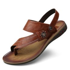 Compare Big Size 37 47 Men Clip Toe Sandals Slippers Genuine Leather Summer Beach Shoes Outdoor Casual Leather Sandals Brown Intl Prices