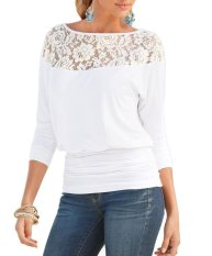 Cheaper Bigood Women S Long Sleeve Round Neck Casual Lace T Shirt Blouse Tops White Intl