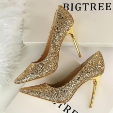 Bigtree Brand Woman Shoes Gold Glitter Pumps Discount Ivalentine Shoes High Heels Princess Wedding Shoes - Intl By T-Mac.
