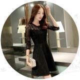 Best Buy Black A Line Korean Dresses Summer Style Vintage Women Fashion New Arrival Ladies Sleeve Dress Lace Mini Dress Women Dresses Intl