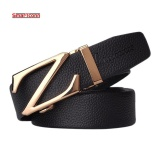 Best Black Business Genuine Leather Belt For Men Automatic Buckle Luxury Design 100 Cowhide Leather Men Belts(125M) Intl