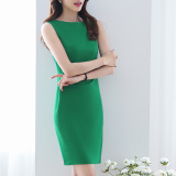 Get Cheap Women S Slim Fit Boat Neckline Sleeveless Shaped Package Hip Dress Black Green Green