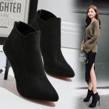 Sale Black Stiletto Heel Pointed Toe Zip Back Martin Boots Faux Suede Heels China Cheap