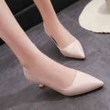 Buy Black Thin Heeled Pointy Toe Shoes Pumps Off White Color Cheap China
