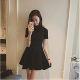 Deals For Black Versatile Spring New Style Semi High Collar Knit Dress Black