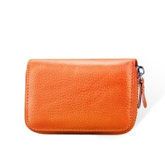 Sale Blocking Leather Wallet Credit Card Holders Purse Travelcards Container Orange Intl