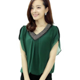 Compare Price Blouse 2016 Summer New Short Sleeved Chiffon Shirt Slim V Neck Beads Plus Size M 4Xl Green Intl On China