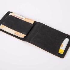 Bluelans Mens Faux Leather Slim Credit Card Holder Magnetic Cash Money Clip Wallet Gift (black