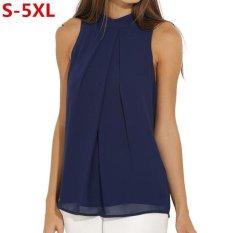 Compare Blusa Feminina Fashion Chiffon Blouse Shirt Women Summer Shirts Tops S*Xy Sleeveless Shirts Plus Size Blusas Mujer S 5Xl Navy Blue Intl Prices