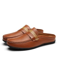 Boat Shoes Summer Men Shoes Backless Loafers Open Backs Shoes Breathable Leather Men Driving Shoes Intl Compare Prices