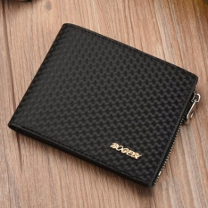 Deals For Bogesi Mens Short Wallet Men S Zipper Bifold Wallet With High Quality Soft Pu(Black) Intl