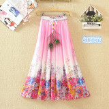 Best Rated Bohemian Chiffon Printed High Waisted Slimming Fairy Dress Skirt Red Rattan Flower