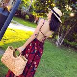 Get Cheap Chiffon Printed New Style Backless Slimming Dungaree Dress Beach Dress