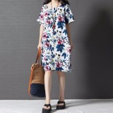 Retail Boho Style Printed Floral Dress 2016 Summer Womens Short Sleeve Dresses Casual Vintage Vestido Plus Size S 5Xl