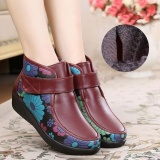 Best Boots Women Winter Leather Flower Keep Warm Outdoor Ankle Boots Intl