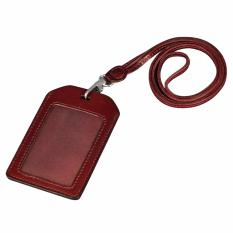 How To Get Boshiho Genuine Leather Id Card Badge Holder With Heavy Duty Lanyard Vertical Style Brown Intl