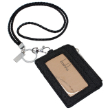 Boshiho Saffiano Leather Badge Holder Id Card Holder With Coin Change Purse Black With Keychain Sale