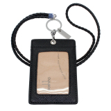 Review Boshiho Vertical Style Leather Id Card Badge Holder With Keychain Lanyard Black With Keychain Boshiho