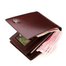 Price Bostanten Men S Cow Leather Bifold Wallet With Deluxe Credit Card Flip Pocket Brown Bostanten