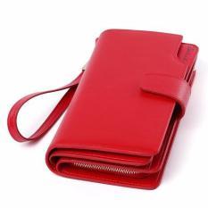 Bostanten Womens Genuine Leather Clutch Leisure Bifold Wallet Red - intl