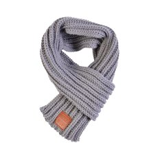 Boy Girl Baby Kids Winter Solid Color Scarf Warm Knitting Wool Scarf Children Neck Warmer Scarves With Leather Label Apparel Accessories