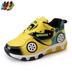 Best Boy Or G*rl S Non Slip Breathable Flashing Lights Fashion Sneakers Color Yellow Intl