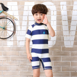 New Boy S One Piece Boxer Short Sleeved Children S Swimsuit