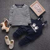 Cheapest Boys Autumn Dress Suit 2017 New Style Children S Baby Overalls Children S Clothing Long Sleeved Two Piece Sets 01 2 3 4 5 Years Old Long Sleeved Shoulder Strap Bear S Dark Blue Online