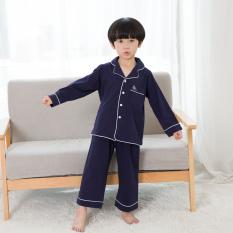Best Deal Baby Korean Style Winter Long Sleeved Children S Tracksuit Cotton Pajamas Dark Blue Color