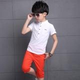 Promo Boys Short Sleeve Linen T Shirt Pant Children Suits Red Intl