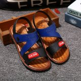 Lowest Price Boy S Two Strap Open Toe Outdoor Genuine Leather Sandal Toddler Little Kid Casual Slippers Flat Water Upstream Sandals Outdoor Sandle Hook Loop Shoes Intl