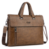 Price Brand Design Jeep Men S Handbag Business Bags Single Shoulder Bag Male Briefcase Leather Portable Tote Messenger Bag Brown Online China