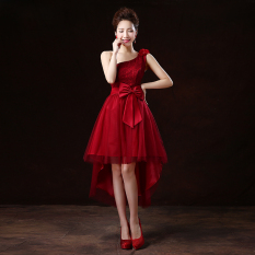 Purchase Women S Banquet Bridesmaid Dress Red Wine Red Color Front Short After Long Wine Red Color Front Short After Long Online