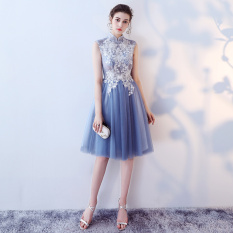 Compare Sister Fashion Female Party Dress Mandarin Collar Evening Gown Bridesmaid Dress Blue Collar Prices