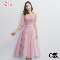 Mid Length Spring And Summer New Style With Red Bean Paste Color Graduation Dress Bridesmaid Dress C Free Shipping