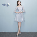 Review Sisters Korean Style Female New Style Short Evening Dress Bridesmaid Dress Gray Short Paragraph B Section 968 China
