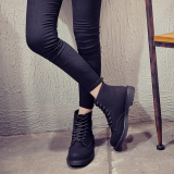 Cheap British Black Female Flat Heel Single Boots Martin Boots Online