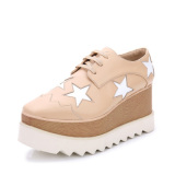 Best Price The British Leather Square Toe Casual Shoes Platform Shoes Beige