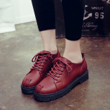 Retro Spring And Autumn Small Leather Shoes Red Sale