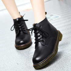 Best British Style Student Elevator Casual Women S Shoes Martin Boots Black Leather In