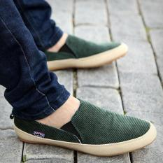 Top Rated Britsh Men S Casual Canvas Sneakers Slip On Loafer Moccasin Zapato Breathe Shoes Green Intl