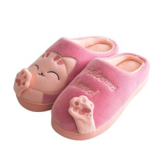 Broadfashion Cute Plush Cartoon Cat Home Slippers Warm Bedroom Indoor Womens Floor Shoes 36-37 (pink) - Intl By Broadfashion Store.