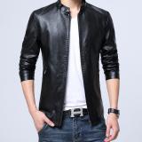 Buy Korean Style Plus Velvet Slim Fit Collar Short Leather Jacket Men S Leather 26305 Black Oem